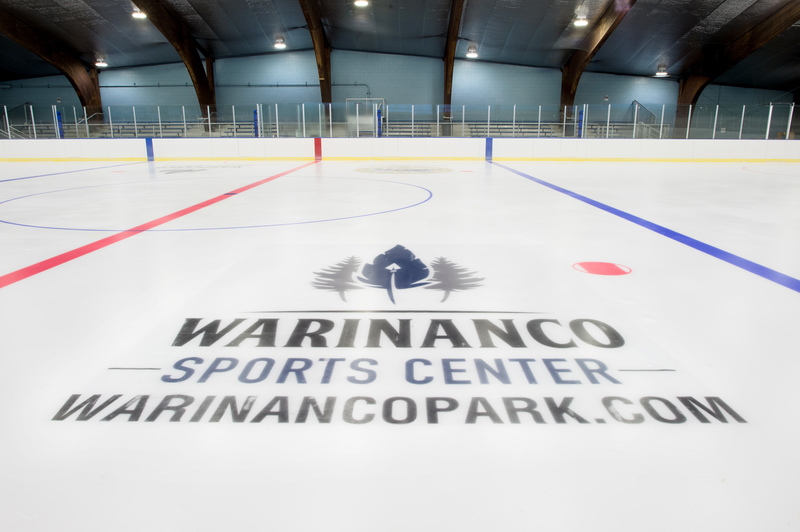View of the Warinanco Sports Center logo on the skating rink at Warinanco Park